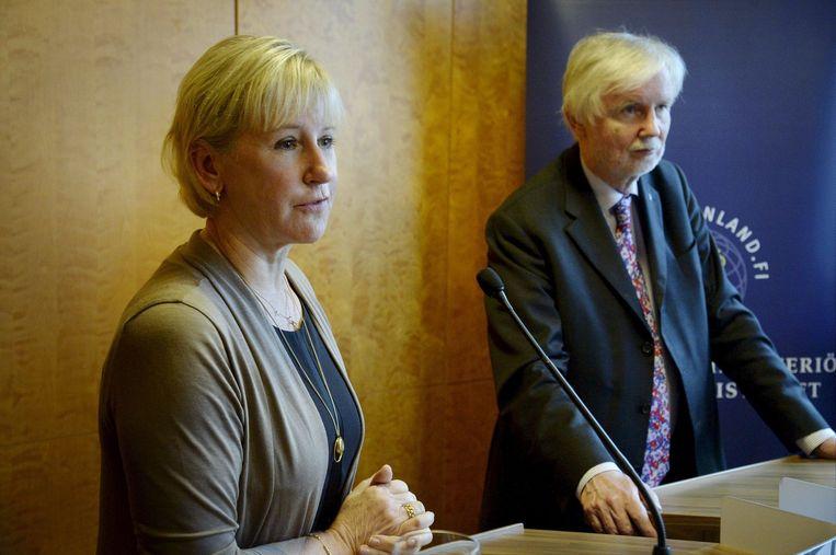De Zweedse minister van buitenlandse zaken Margot Wallström (L). Beeld afp