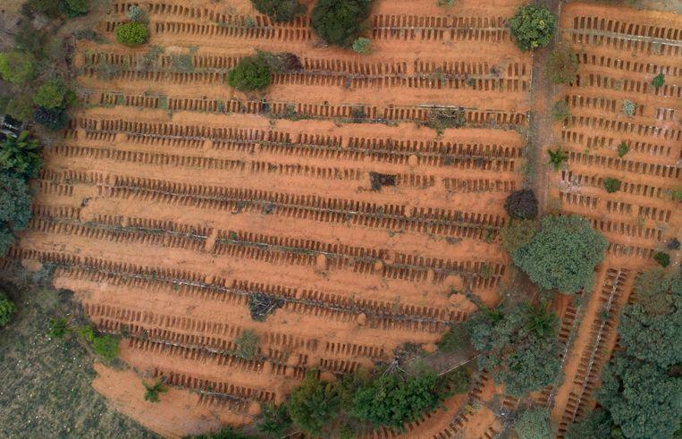 Pasgegraven, nog lege graven buiten Sao Paolo in Brazilië.