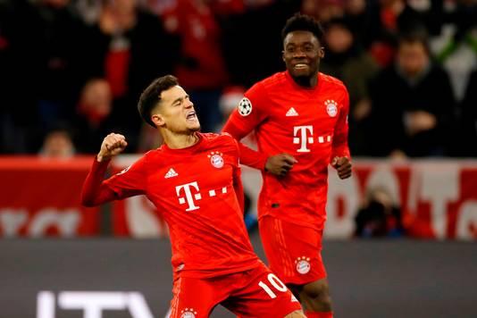 Coutinho viert zijn treffer namens Bayern München.