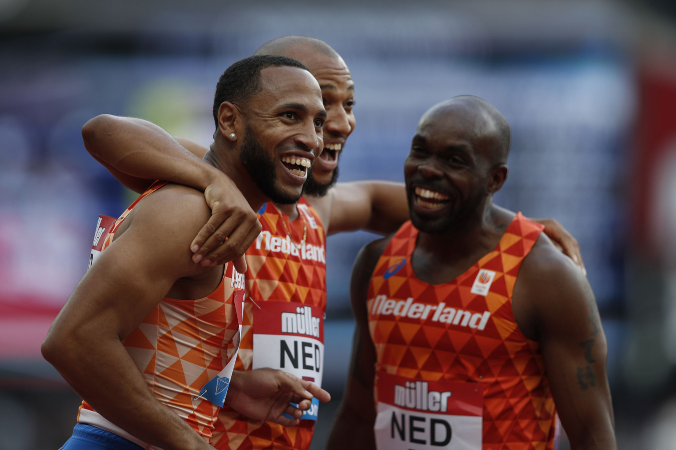 Christopher Garcia, Hensley Paulina en Churandy Martina vieren het Nederlands record.