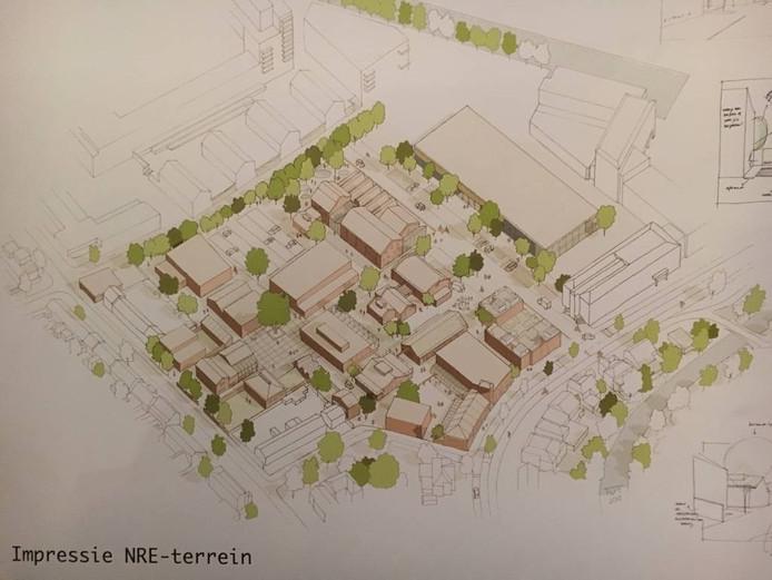 Een impressie van het herinrichtingsplan voor het NRE-terrein zoals de gemeente dat met toekomstige gebruikers heeft opgesteld. Daarop is plaats voor zo'n 50 bomen.