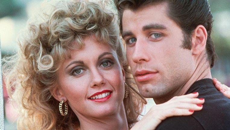 Olivia Newton-John enJohn Travolta in de musicalfilm Grease. Beeld