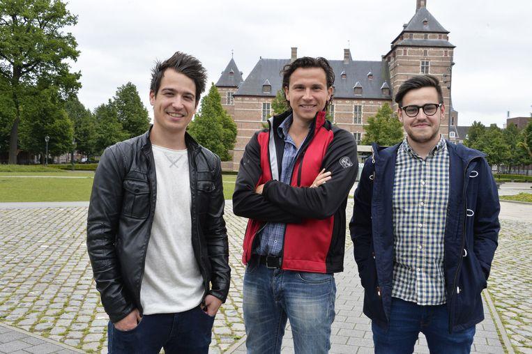 Steff Hesbeens, Toon Otten en Philippe Boermans op het Warandeplein.