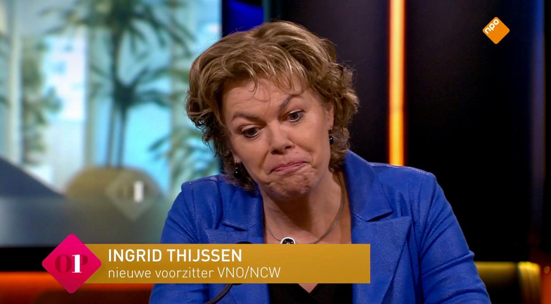 Het eerste tv-optreden van Ingrid Thijssen als voorzitter van VNO/NCW bij  'Op1' . Beeld