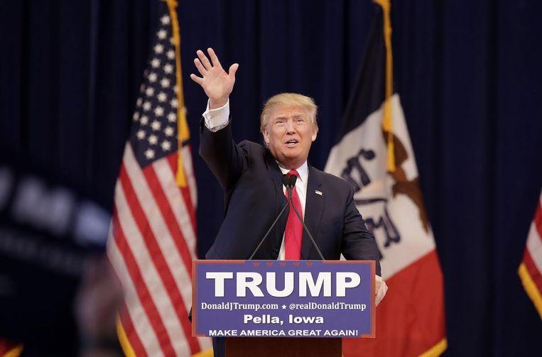 Trump tijdens een van zijn speeches. Beeld Epa