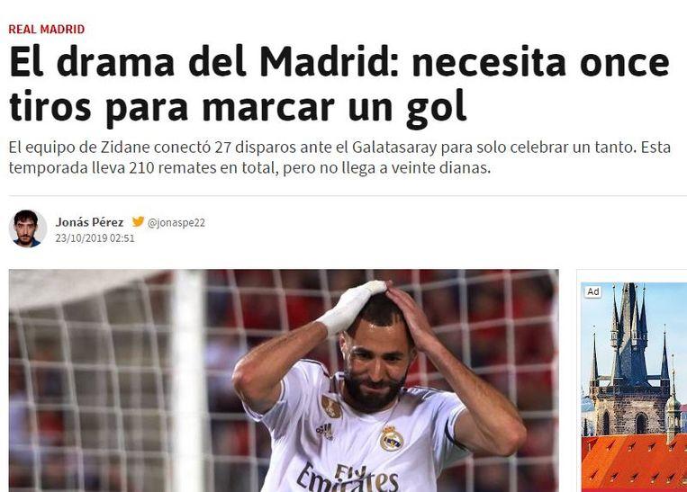 """AS zoemt ook in op het """"aanvallende drama"""" dat Real is, waarbij Hazard als een van de schuldigen aangewezen wordt. 27 doelpogingen, maar slechts één goal gisteravond. Hazard trapte vier keer op doel."""