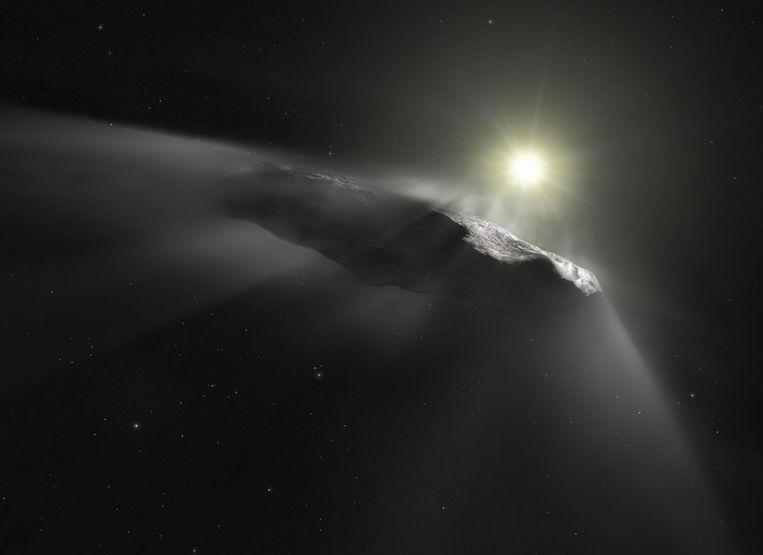 Impressie van de grote ruimterots 'Oumuamua.