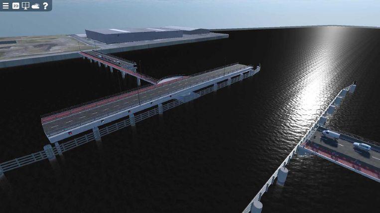 De brug over het Verbindingsdok in Zeebrugge moet schepen tot 55 meter breed kunnen doorlaten.