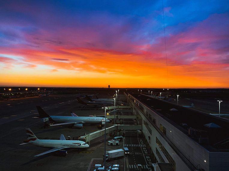 De zonsopgang op Brussels Airport.