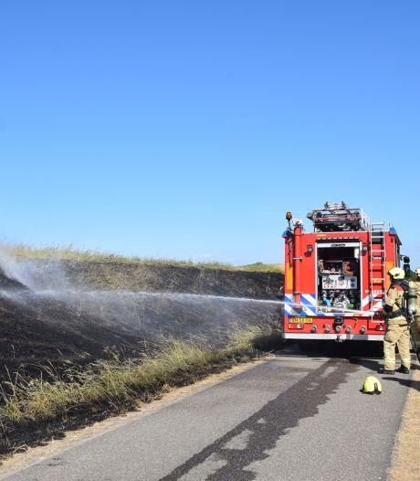 Stuk dijk van 100 bij 10 meter in brand bij Dreischor