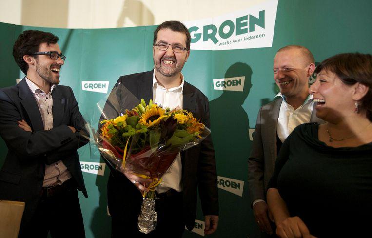 Archiefbeeld: de groene kopstukken Kristof Calvo, Wouter Van Besien, Bruno De Lille en voorzitter Meyrem Almaci.
