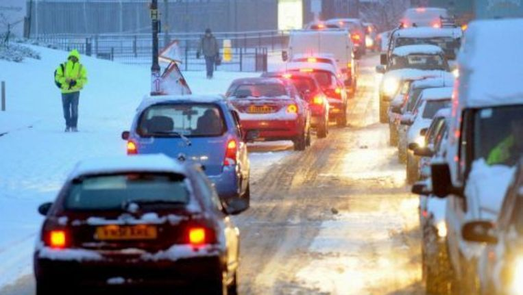 Winters verkeer in Birmingham. ANP Beeld