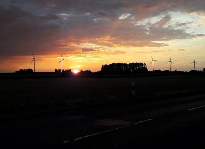 Windmolens bij ondergaande zon.