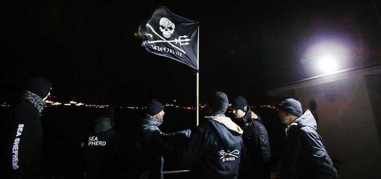 Leden van de activistische natuurorganisatie Sea Sheperd waren op weg naar de gestrande bultrug Johannes bij Texel. Beeld anp
