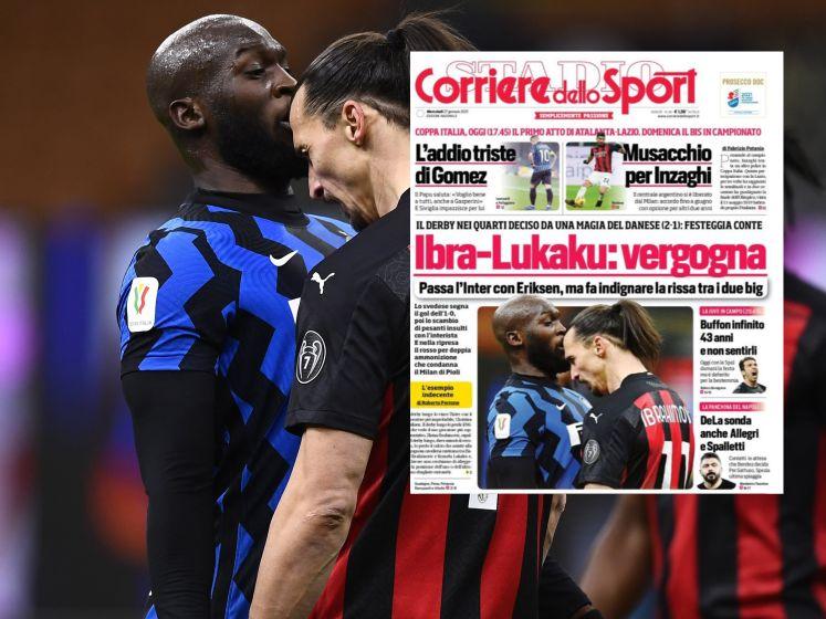"""Incident Lukaku-Ibrahimovic domineert ook de covers van de Italiaanse sportkranten: """"De schande"""""""
