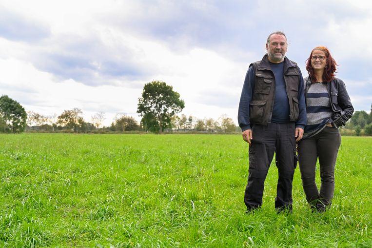 Siegfried D'heer en zijn vrouw Heidi Scheers op het stuk grond aan de Meerskant waar ze met de hulp van andere Zelenaars 4.000 bomen zullen planten.