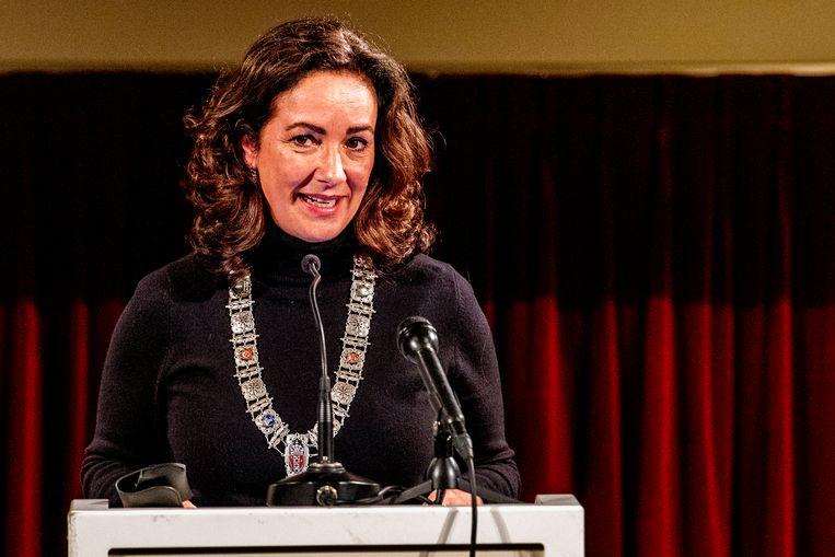 Burgemeester Femke Halsema van Amsterdam bij de herdenking van de Decembermoorden in Suriname, december 2019. Beeld ANP