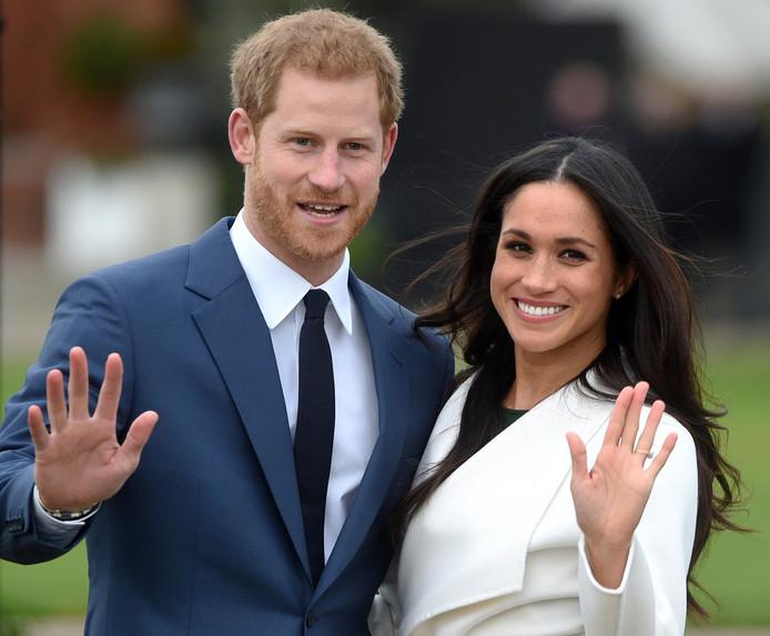 Harry en Meghan na de aankondiging van hun verloving.