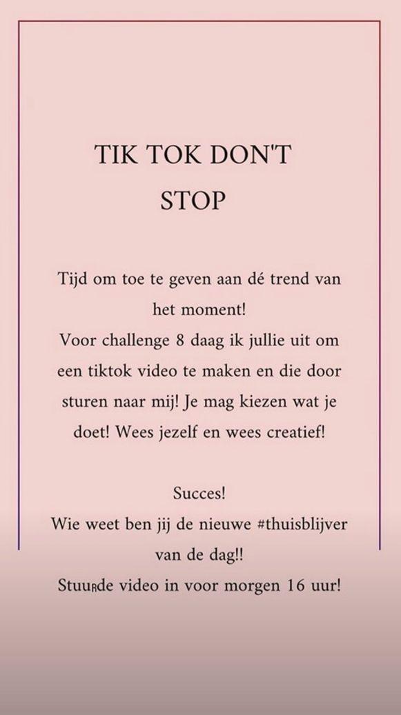 Miss België Celine Van Ouytsel post iedere een uitdaging op haar instagram stories. Dit is een voorbeeldje.