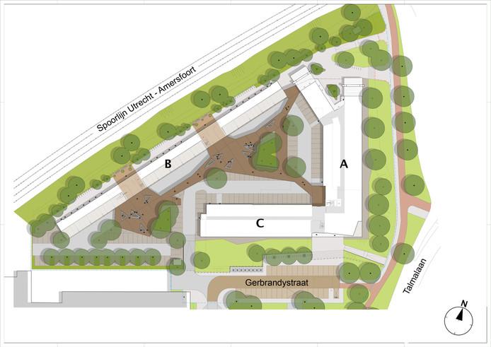 Indeling van de nieuwe huurappartementen aan de Gerbrandystraat A: woontoren met 19 woonlagen met 205 woningen B: gebouw van 7 woonlagen langs het spoor met 200 studentenwoningen  C: gebouw met 5 woonlagen met 82 appartementen Complex A en C zijn met elkaar verbonden.
