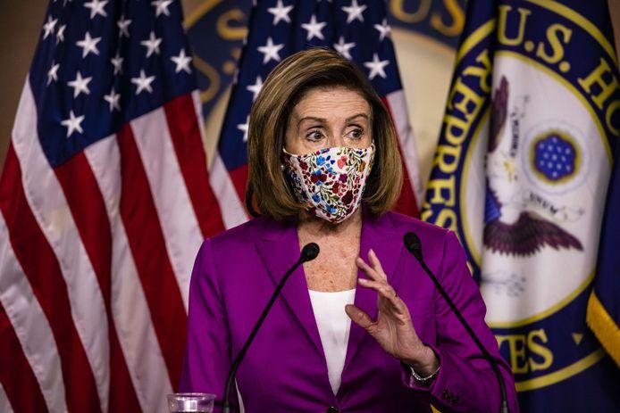 Speaker of the House Nancy Pelosi. Enkele oproerkraaiers die het Capitool bestormden, probeerden haar kantoor te vernielen.