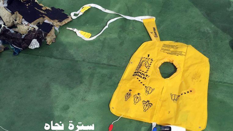 Gevonden resten van het toestel van EgyptAir. Beeld anp