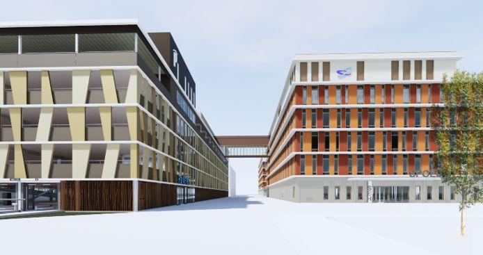 Beeld van de nieuwbouw op het dak van de bezoekersgarage (links) en de loopbrug naar de andere operatiekamers in het ziekenhuis.
