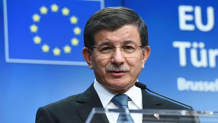 De Turkse premier Ahmet Davutoglu bij de Migratietop in Brussel. Beeld afp