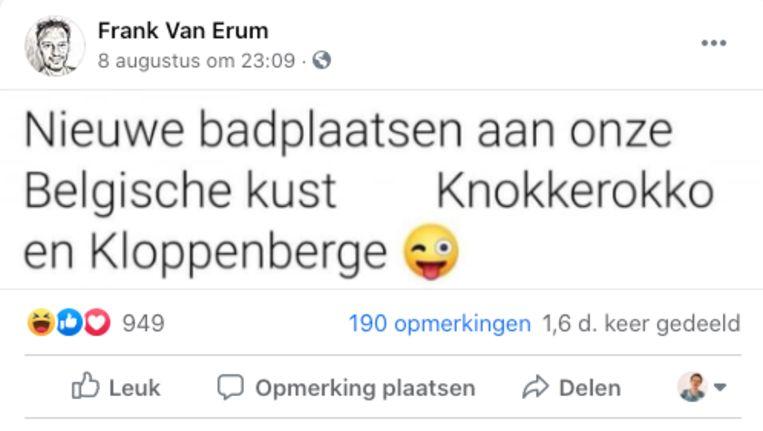 Deze grap had 'Thuis'-acteur Frank Van Erum op zijn profiel gedeeld.