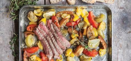 Wat Eten We Vandaag: Gemarineerde biefstuk met geroosterde tomatensalade