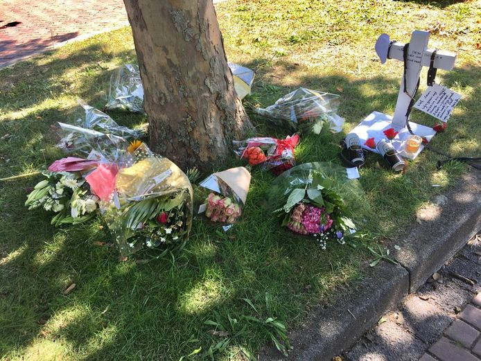 Bij het gemeentehuis van Oss waren ook andere bloemen en een gedenktegen voor Arie den Dekker geplaatst.
