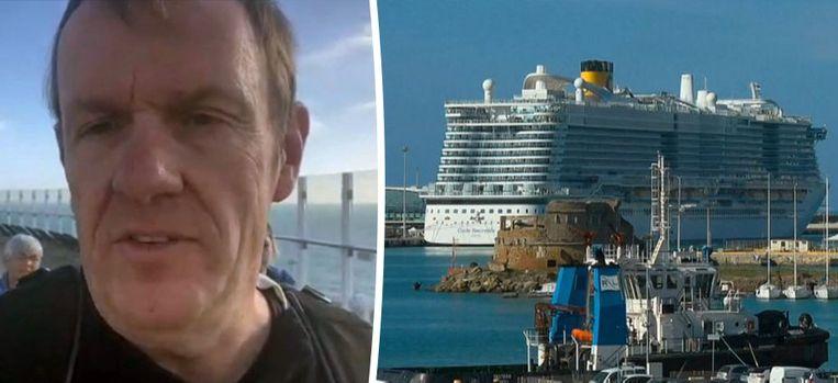 Vlaming Mike Louagie aan boord van het cruiseschip. Het schip is in lockdown wegens een mogelijke besmetting met het coronavirus.