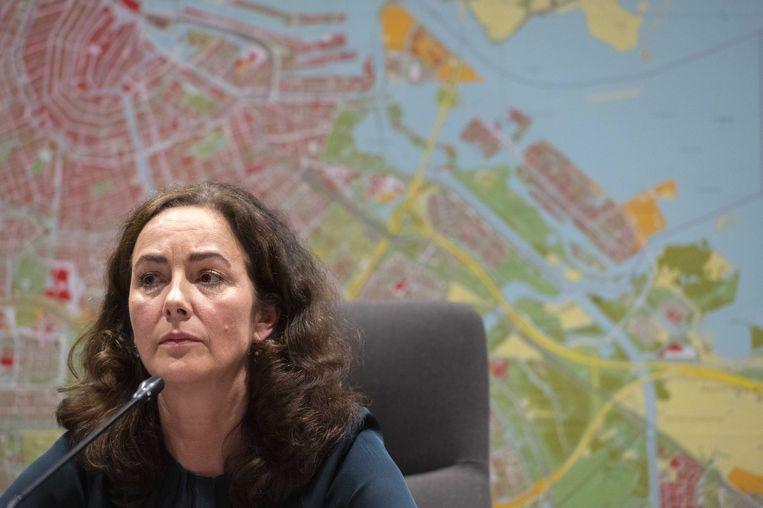Burgemeester Femke Halsema tijdens de persconferentie over het coronavirus in Amsterdam. Beeld ANP