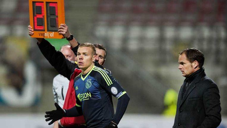Kolbeinn Sigthórsson van Ajax en trainer Frank de Boer tijdens de kwartfinale van de KNVB-beker tegen Vitesse. Beeld anp