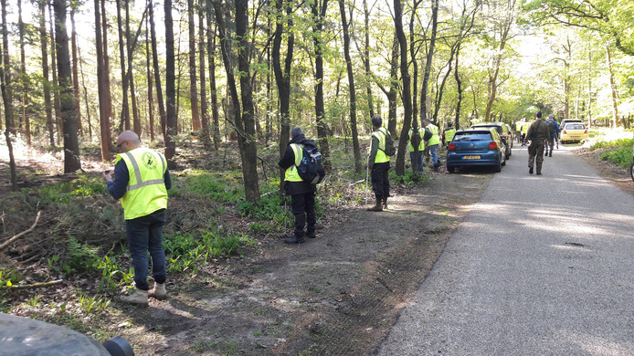 Experts gaan op linie het bos afstruinen aan de weg waar de auto van de vermiste Ellen Hagenbeek dinsdag werd aangetroffen.