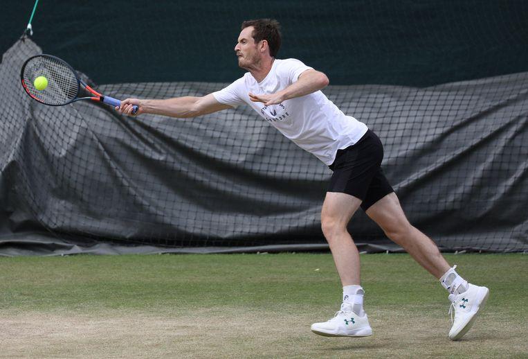 Andy Murray in actie op training.