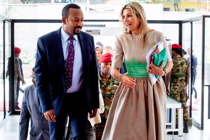 Koningin Máxima bezoekt, in haar rol als  als VN-gezant, de Ethiopische premier Abiy Ahmed tijdens een tweedaags bezoek.