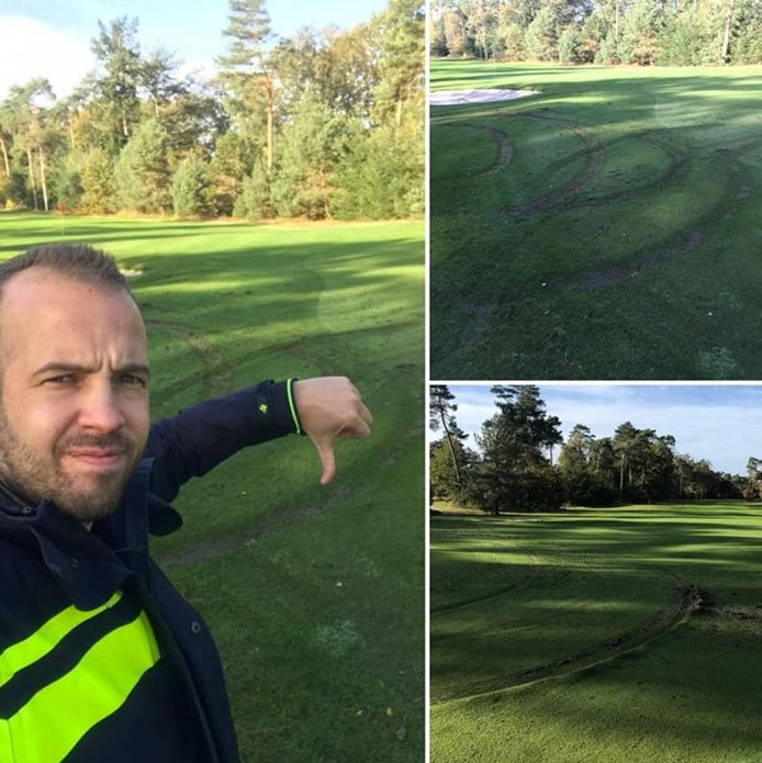 Dikke duim omlaag van Thijs van Politie Ommen richting degene die vannacht met zijn auto diepe sporen achterliet op de golfbaan.
