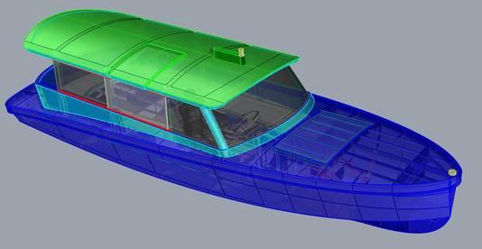 Het prototype van de elektrische boot.