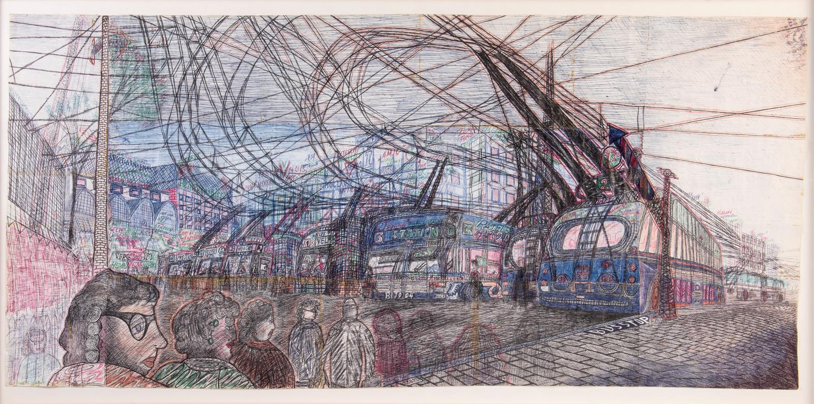 Pentekening van het trolleybusstation op Stationsplein in Arnhem, gemaakt door Willem van Genk in 1996.