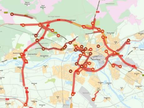 Opnieuw verkeersinfarct rondom Arnhem na ongeval op A12