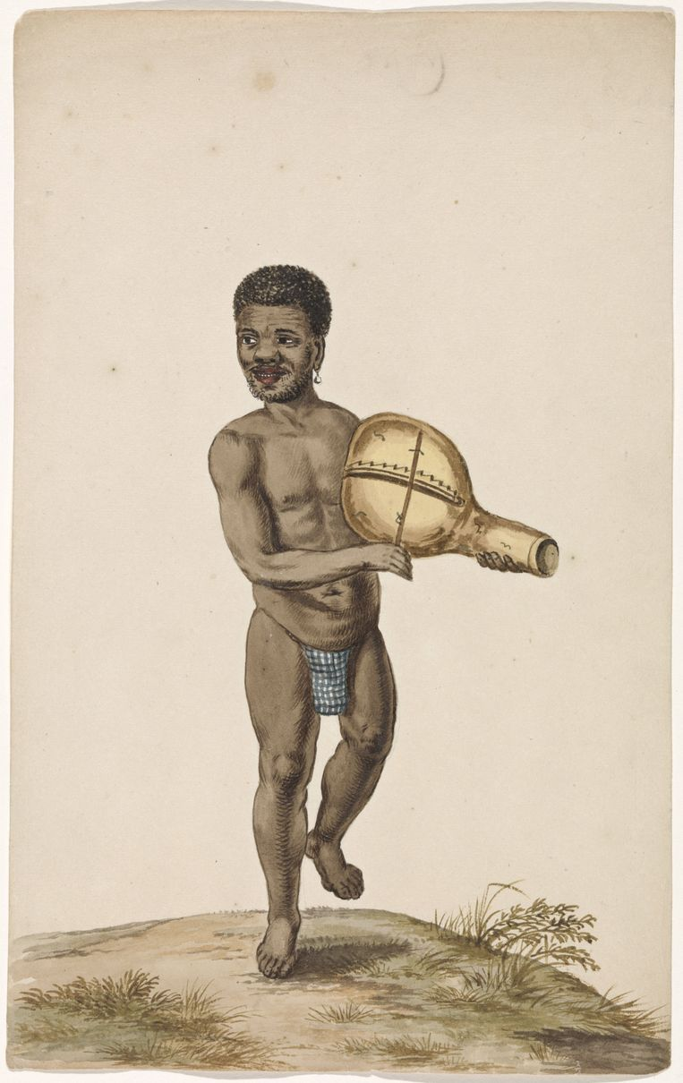 Afrikaanse musicerende man met kalebasinstrument, anoniem, naar Andries Beeckman, ca. 1675 - ca. 1725, waterverf. Beeld /