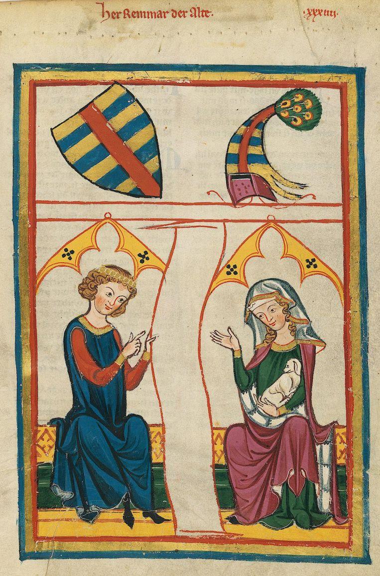 Vóór de pestpandemie droegen mannen en vrouwen vergelijkbare 'unisex-soepjurken', zoals afgebeeld op dit schilderij uit de periode 1305-1315. Beeld Reinmar der Alte, UB Heidelberg
