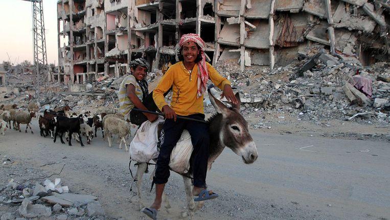 Palestijnse jongens op een ezel tussen door Israël gebombardeerde gebouwen. Beeld getty