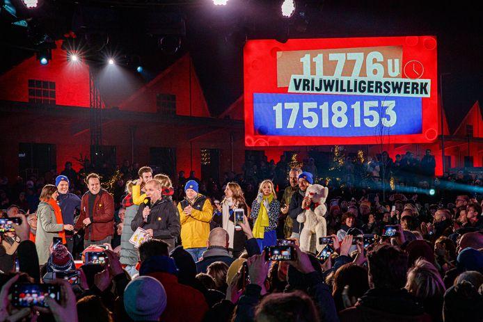 Het slotevenement van De Warmste Week vorig jaar in Kortrijk. Toen werd ruim 17,5 miljoen euro en 11.776 uur vrijwilligerswerk opgehaald.