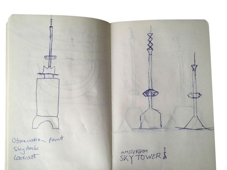 Eerste schetsen van Sander Groet Beeld -