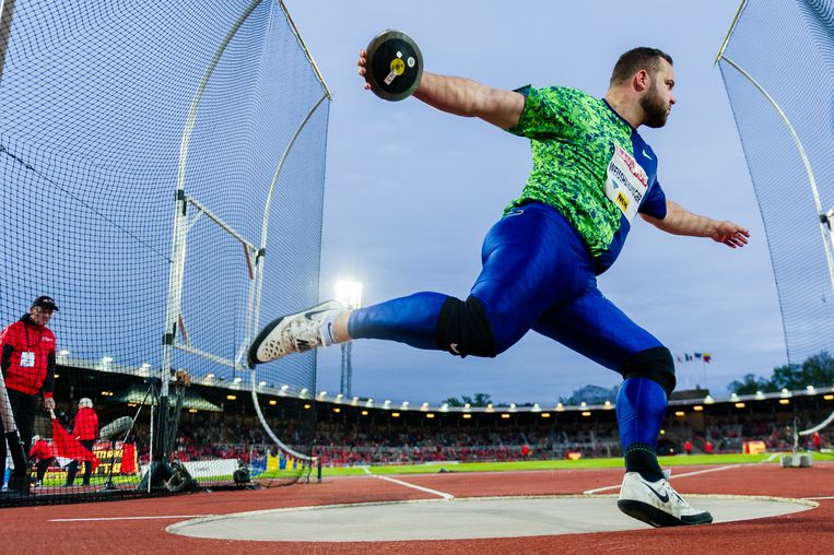 STOCKHOLM, SWEDEN - MAY 30: Lukas Weisshaidinger of Austria competes in the men's Discus Throw during Stockholm - 2019 Diamond League at Stockholms Olympiastadion on May 30, 2019 in Stockholm, Sweden. (Photo by Marco Mantovani/Getty Images) Beeld Getty Images