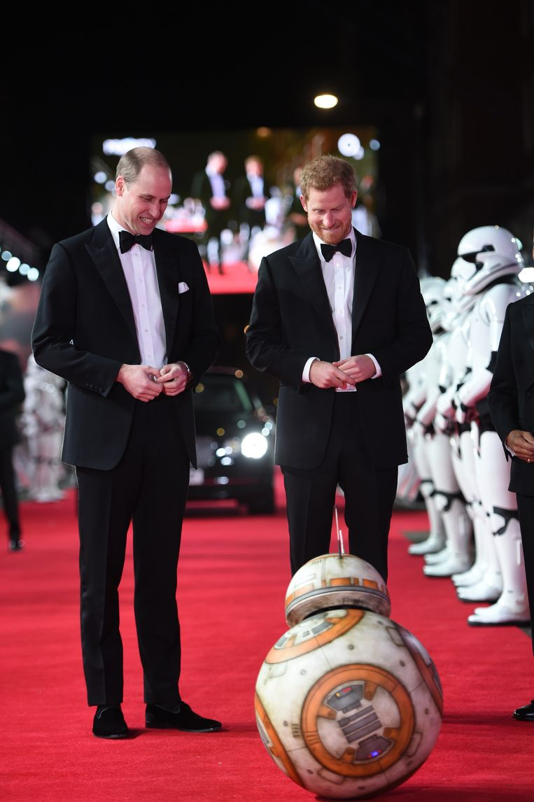 William en Harry spelen met een BB8 Droid.