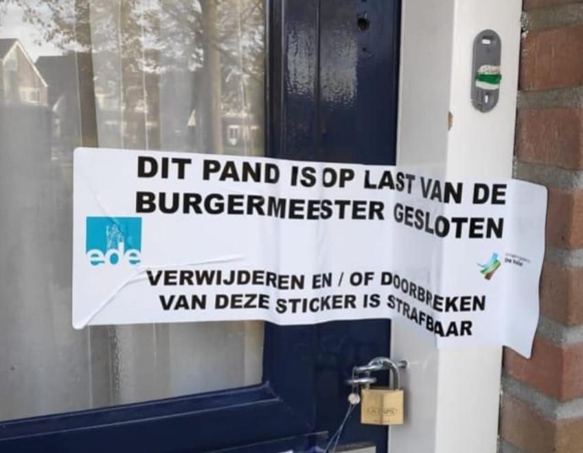 Het pand in Bennekom is gesloten op last van de burgemeester.