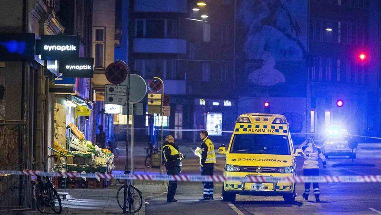 De vermoedelijke dader van de twee aanslagen in Kopenhagen werd door de politie neergeschoten in de buurt van het metrostation Nørrebro. Beeld reuters